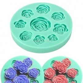 Молд 9 Роз круглый, диаметр 9см, диаметр роз 12мм, 32мм, 45мм