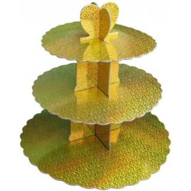 Стенд картонный для капкейков Золото голограмма, d-31 см, 25см, 20,7 см, высота 31,5см