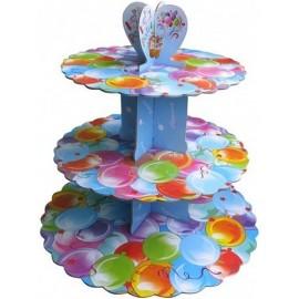 Стенд картонный для капкейков Воздушные шары, d-31 см, 25см, 20,7 см, высота 31,5см