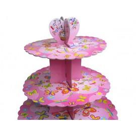 Стенд картонный для капкейков Розовый, d-31 см, 25см, 20,7 см, высота 31,5см