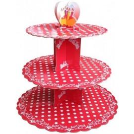 Стенд картонный для капкейков Красный в горошек, d-31 см, 25см, 20,7 см, высота 31,5см