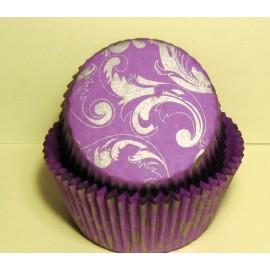 Бумажная форма для маффинов Фиолетовая с серебряным узором 50/30 50шт