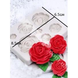 Молд 7 розочек, большая роза 3см, маленькая роза 1см