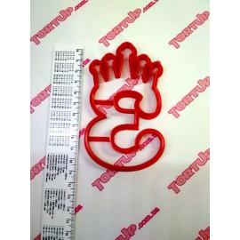 Пластиковая вырубка цифра с короной Три 11см