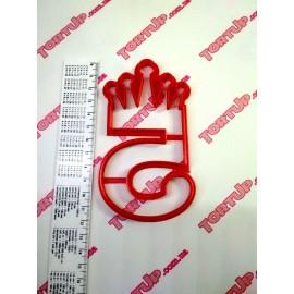 Пластиковая вырубка цифра с короной Пять 11см