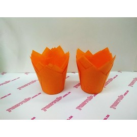 Бумажная форма Тюльпан 5*8см Оранжевый 10шт