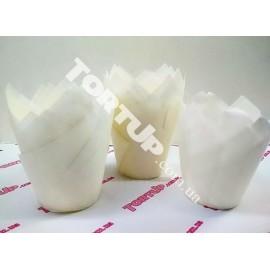Бумажная форма Тюльпан белые, 5*8см, 10шт