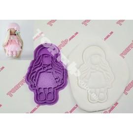 Пластиковая вырубка с оттиском Кукла Тильда блондинка 10см