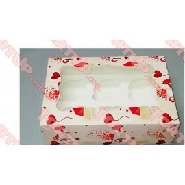Коробка глянец для маффинов на 6шт LOVE 250*170*80мм