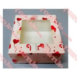Коробка глянец для пирожных LOVE + окно 170*170*80