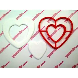 Пластиковая вырубка Сердце двойное 12см