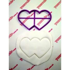 Пластиковая вырубка Два сердца 7*12 см