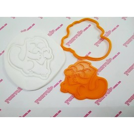 Пластиковая вырубка с оттиском Котик с сердцем 10см