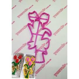 Пластиковая вырубка Букет тюльпанов 17см