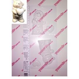 Форма для шоколада и мастики Мишка с сердечком размер мишки 5см*10см, глубина 3см