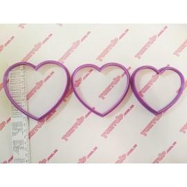 Пластиковая вырубка Сердца набор 3шт, 10см, 9см, 8см