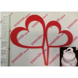 Топпер пластиковый 2 сердца 14 и 11см