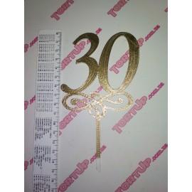 Топпер пластиковый 30 с вензелем малым, золото, 10см, ножка 5см