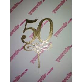 Топпер пластиковый 50 с вензелем малым, золото, 10см, ножка 5см