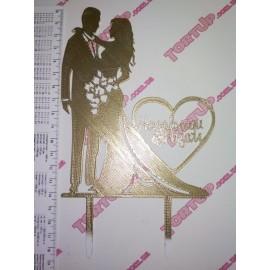 Топер пластиковый Mr&Mrs Назавжди разом золотой 14/11 см, ножка 7см