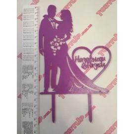 Топер пластиковый Mr&Mrs Назавжди разом фиолетовый 14/11 см, ножка 7см