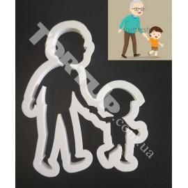 Пластиковая вырубка силуэт Дед с внуком высота 10см