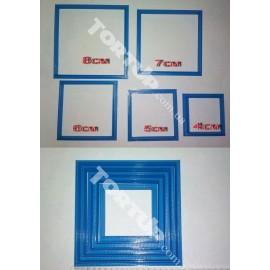 Пластиковая вырубка Набор рамок квадрат от 4см до 8см 5шт