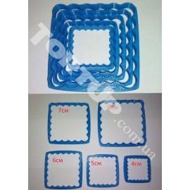 Пластиковая вырубка Набор рамок квадрат волна 5 шт