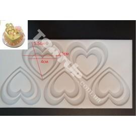 Молд силиконовый на планшете Сердце (из 5шт) №2, 5.5 и 4см, глубина 4мм
