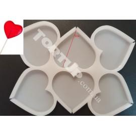 Молд силиконовый для леденцов Сердечки №3, 5см, 6шт на планшете