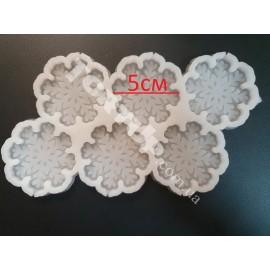 Молд силиконовый для леденцов Снежинки 5см 6шт на планшете