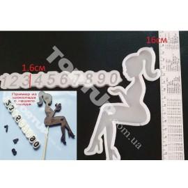 Молд силиконовый для леденцов Набор Девушка с хвостом+цифры