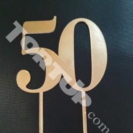 Топпер пластиковый 50 №3 12см, ножка 7см, золотой