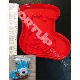Пластиковая вырубка с оттиском Сапог с мишкой 12см