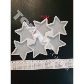 Молд силиконовый для леденцов Звёзды 6см (6шт)