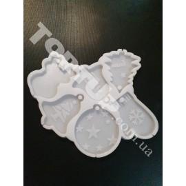 Молд силиконовый для карамели на палочке Новогодние игрушки №2, по 6см