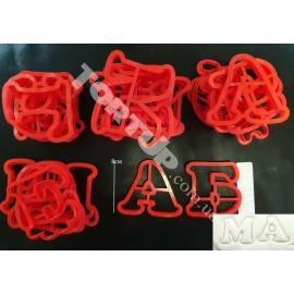 Пластиковая вырубка алфавит Округлый 8см+укр. буквы (35 букв), режущая часть 10мм