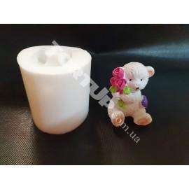 Молд силиконовый 3D Мишка с цветком 5см