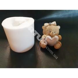 Молд силиконовый 3D Мишка с сердцем №2, 5см