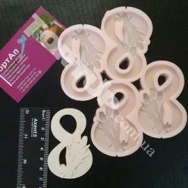 Молд силиконовый для леденцов Восьмёрка с цветами №1, 7см