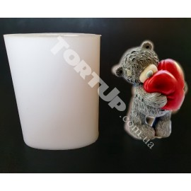 Молд силиконовый 3D Мишка с сердцем №5 (Тедди), 8см
