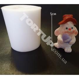 Молд силиконовый 3D Заяц в шляпе с яйцом 5см