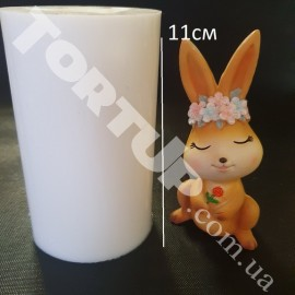 Молд силиконовый 3D Крольчиха с веночком высота 11см