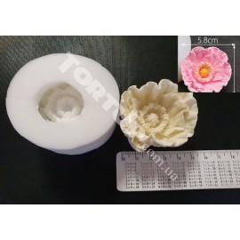 Молд силиконовый 3D Пион №2  5,8см