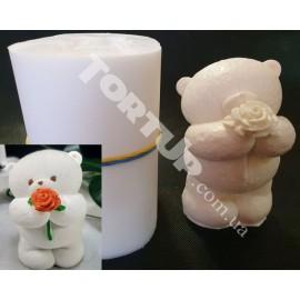 Молд силиконовый 3D Мишка плюшевый №3 с цветком   8см