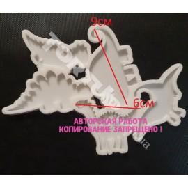 Молд силиконовый для леденцов Динозаврики №2 (5шт)