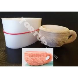 Молд силиконовый 3D Вязаная чашка, диаметр 6см, высота 3,5см