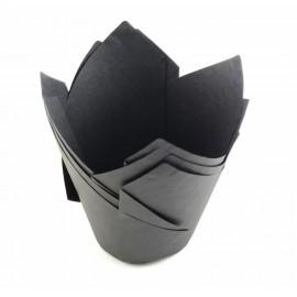 Бумажная форма Тюльпан 5*8см Чёрные 10шт