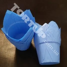 Бумажная форма Тюльпан с жёстким бортом, Голубые 10шт
