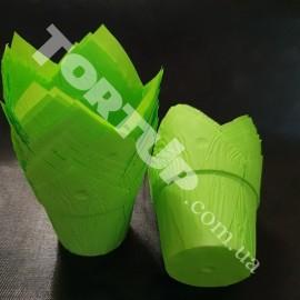 Бумажная форма Тюльпан с жёстким бортом, Зелёные 10шт